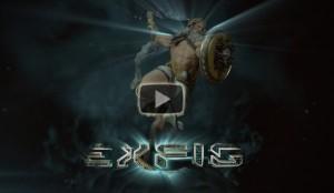 Dark and powerful image of Zeus throwing lightening rod