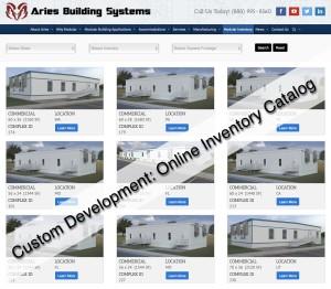 Aries online inventory landing page showing renderings of modular buildings