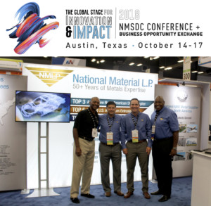 Image of National Material employees standing in front of their new trade show booth at the NMSDC conference in Austin, Texas