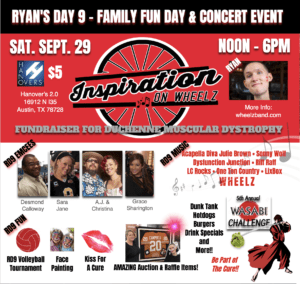 Official Ryan's Day 9 Social Media Sharing Postcard with red background & images of event emcees and attractions.