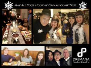 A photo montage of Dremana Productions employees at various Christmas events, looking happy and festive!
