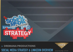 "Gray background with the words ""Social Media Strategy & LinkedIn for Lead Generation"" above National Material L.P.logo: inverted gold triangle"