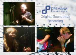 Image montage of a woman singing, men playing the harmonica and electric guitar in the Dremana Productions recording studio, Austin, Tx.