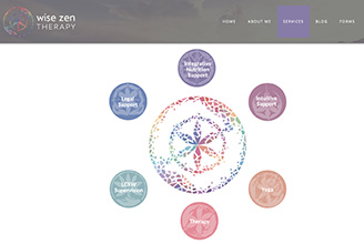 Wise Zen Therapy's website homepage image: a mosaic-style flower in which each leaf is a different color of the chakras; red, orange, yellow, green, blue, indigo, and violet.