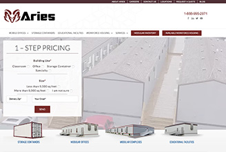 Aries website homepage, featuring a dynamic video of Aries modular buildings, manufacturing facility, and aerial views of their location in Troy, Texas.