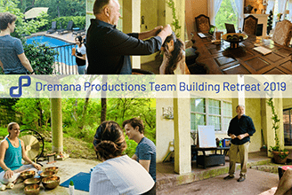Brightly colored picture collage of Dremana Production's 2019 Team Building Retreat, featuring team members around a pool, doing yoga, and attending a workshop outside in a patio setting.