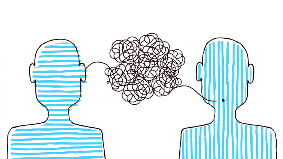 An illustration of two heads, colored in with blue stripes—one vertical stripes, the other horizontal stripes. A black line is coming out of the mouth of the figure on the right, and, in the space in between the figures, the line becomes a spiral jumble, then it enters the brain of the figure on the right.