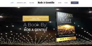 Author Rob A Gentile's Quarks of Light book cover; a beautiful gold and black theme of an etherial sparkling net of light.